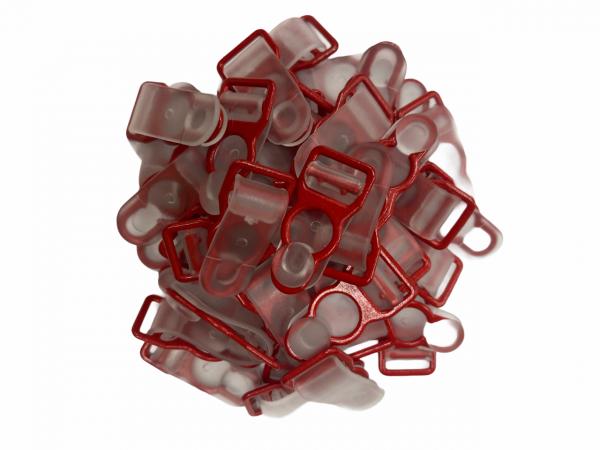 Бельевая застежка для чулок металлическая 10мм цв.прозрачный/красный(в упак.1000шт)