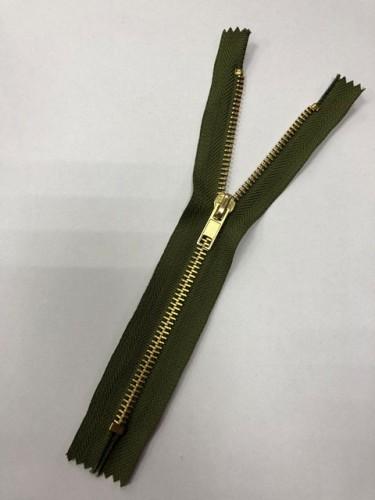 Молния джинсовая Т5 18см неразъемная золото цв.№264 хаки(в упак.100шт)