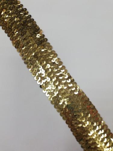 T013 Кружево расшитое эластичное  цв.золотой(в упак.15м)
