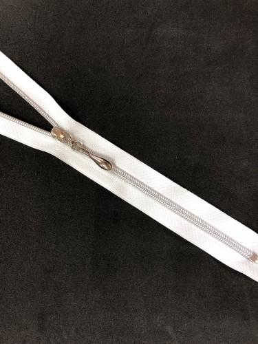 Молния спираль Т3 декоративная 60см неразъемная серебро цв.№101 белый(в упак.100шт)