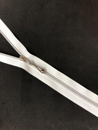 Молния спираль Т3 декоративная 60см серебро цв.№101 белый(в упак.100шт)