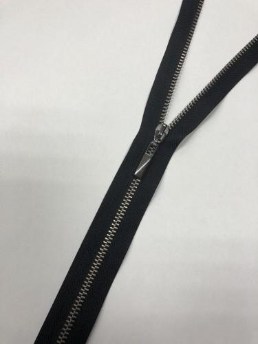 Молния металлическая Т4,5 декоративная 60см т.никель цв.№322 черный(в упак.50шт)