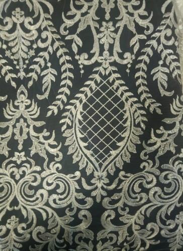 HM243 Ткань свадебная с паетками на сетке шир.135см цв.белый(в рул.14,5м)