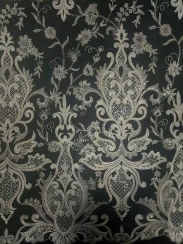 Z125110-S Ткань свадебная с паетками на сетке шир.135см цв.экрю(в рул.15м)