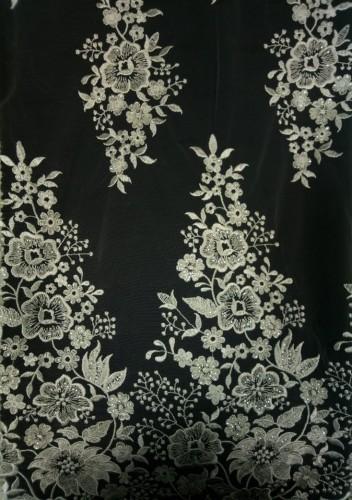 GX1072 Ткань свадебная с паетками на сетке шир.135см цв.белый(в рул.14,5м)