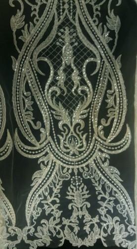 GX546 Ткань свадебная с паетками на сетке шир.135см цв.белый(в рул.14,5м)
