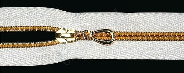 Молния спираль Т7 декоративная 50см золото цв.№101 белый(в упак.50шт)
