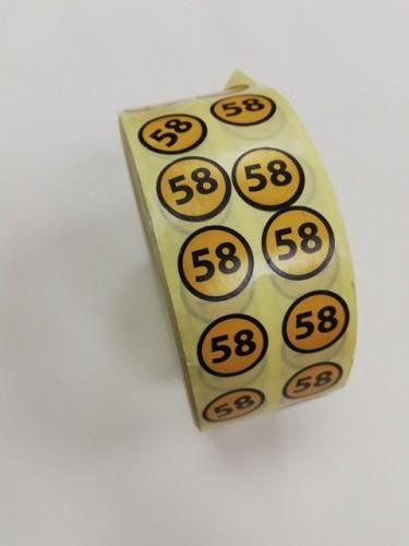58 Размерники на самоклеящейся бумаге цв.желтый(в рул.5000шт)