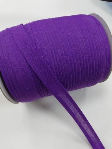 193(199) Косая бейка хлопковая 15мм цв.фиолетовый(в рул.132м)