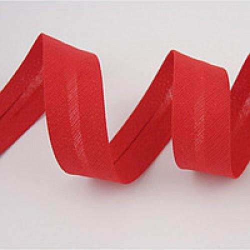 148(257) Косая бейка хлопковая 15мм цв.красный(в рул.132м)