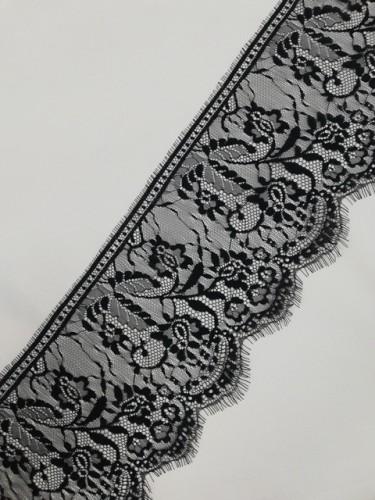 0065А Кружево реснички шир.18см цв.черный(в упак.30м)
