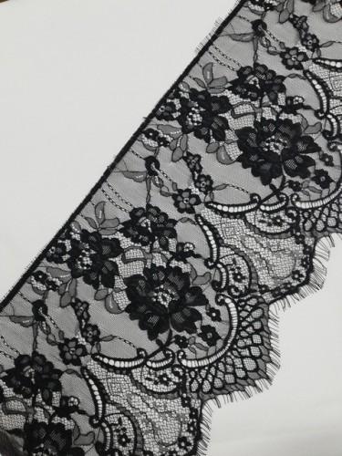 0066А Кружево реснички шир.27,5см цв.черный(в упак.30м)