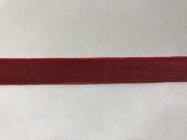 Бархатная лента эластичная 15мм цв.красный(в рул.100м)