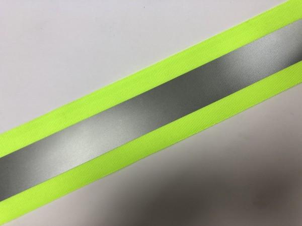 Лента светоотражающая на репсовой ленте 50мм 100% ПЭ цв.салатовый(в рул.100м)