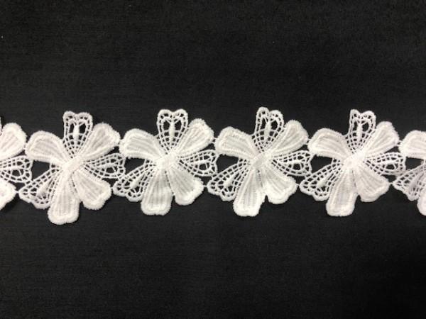 001 Кружево ромашка вязаное полиэстер  цв.белый(в упак.13,8м)