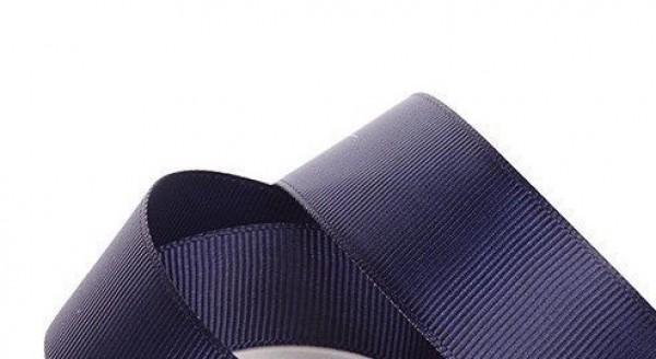 Репсовая лента блестящая 25мм цв.т.синий(в рул.100м)