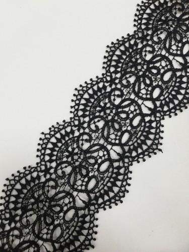 008 Кружево вязаное полиэстер цв.черный шир.9см (в упак.20м)