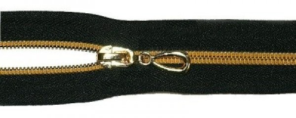 Молния спираль Т7 декоративная 55см золото цв.№322 черный(в упак.50шт)
