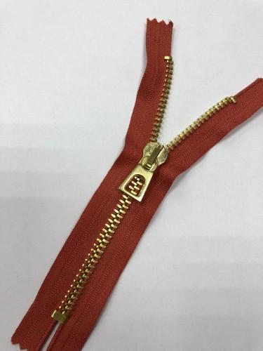 Молния металлическая Т8 декоративная 16см неразъемная золото цв.№045 т.оранжевый(в упак.100шт)