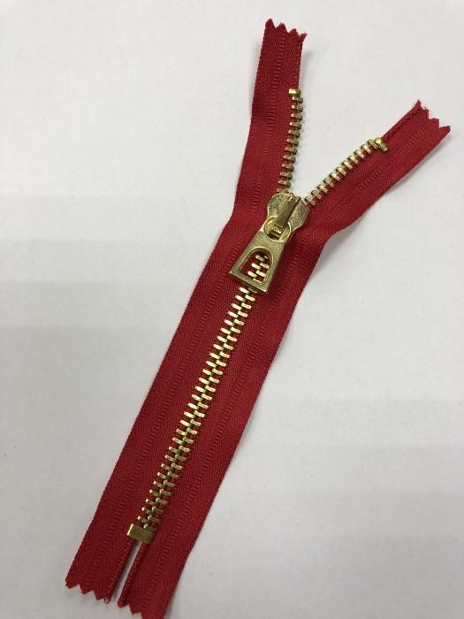 Молния металлическая Т8 декоративная 16см неразъемная золото цв.№171 красный(в упак.100шт)