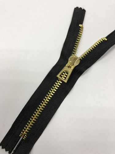 Молния металлическая Т8 декоративная 16см неразъемная золото цв.№322 черный(в упак.100шт)