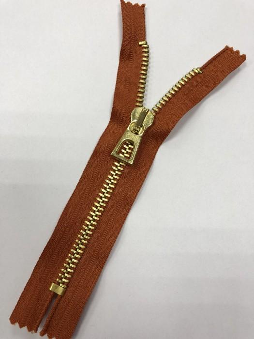 Молния металлическая Т8 декоративная 16см неразъемная золото цв.№102 оранжевый(в упак.100шт)