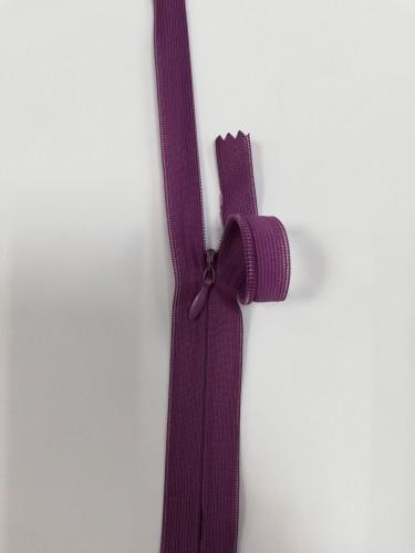 265С Молния потайная Т3 60см цв.фиолетовый грязный(в упак.100шт) Китай