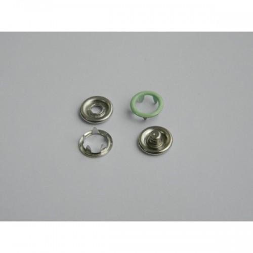 246 Кнопка нержавеющая трикотажная кольцевая 09,5мм цв.св.бирюза(в упак.1440шт)