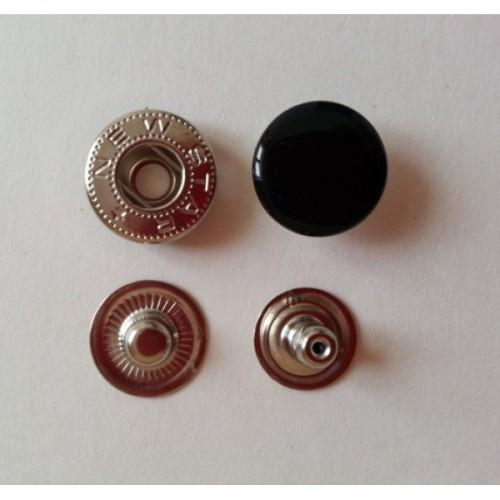 Кнопка стальная Alfa 15мм цв.черный(в упак.720шт)