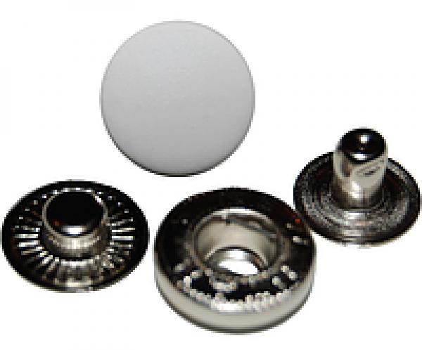 Кнопка стальная Alfa 15мм цв.белый(в упак.720шт)