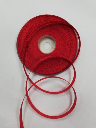 162(3096) Атласная лента 6мм цв.красный(в рул.32,9м)