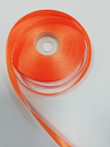 157 Атласная лента 6мм цв.оранжевый(в рул.33м)