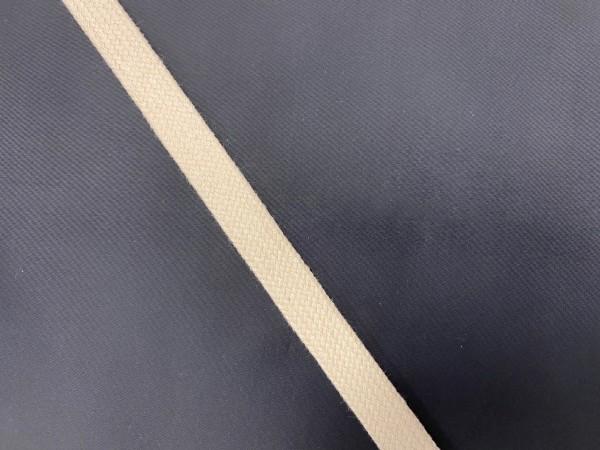 Шнур хлопковый плоский 15мм цв.сырой(в рул.100м)