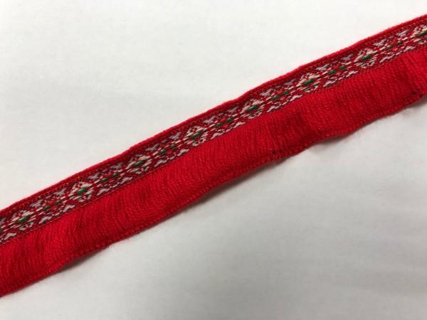 Бахрома с декоративной тесьмой 4см цв.красный(в упак.24м)