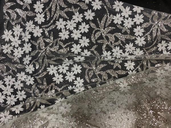SPLTL31 Ткань свадебная с блестками и цветочками на сетке шир.150см цв.белый(в рул.20м)