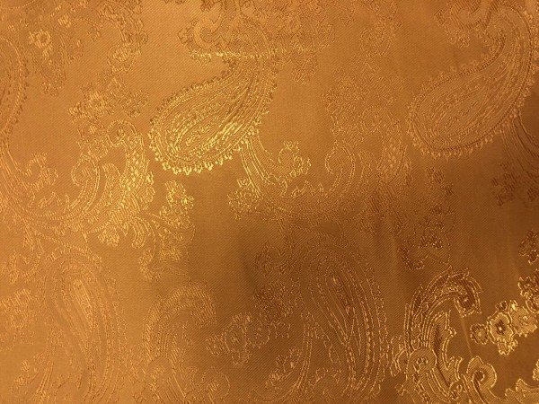 4 Ткань подкладочная жаккардовая огурчики 210Т 150см цв.горчичный(в рул.100м)