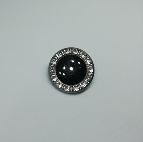 0722 Пуговица металлическая на ножке с черным камнем цв.никель(в упак.500шт)