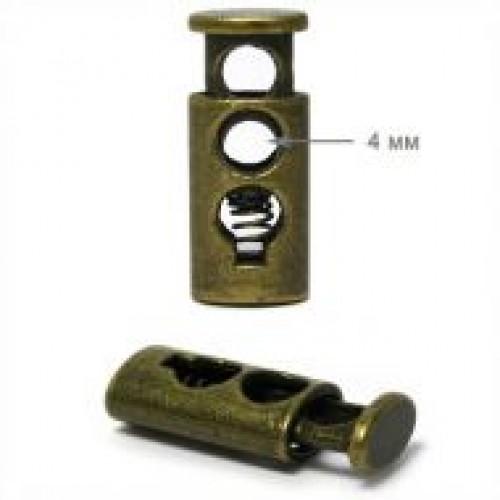 318TR Цилиндр металлизированный пластиковый двухдырочный круглый 27мм цв.антик(в упак.1000шт)