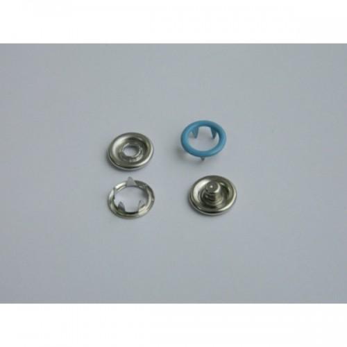 168 Кнопка нержавеющая трикотажная кольцевая 09,5мм цв.голубой(в упак.1440шт)