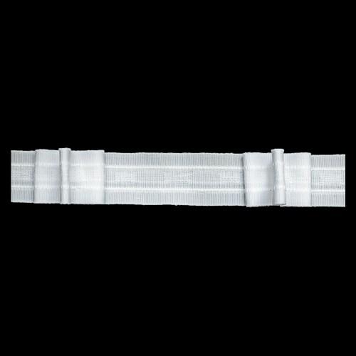 Шторная тесьма №012А 30мм цв.белый(в рул.100м)