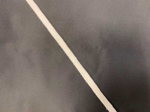 Шнур хлопковый плоский 08мм цв.молочный(в рул.100м)
