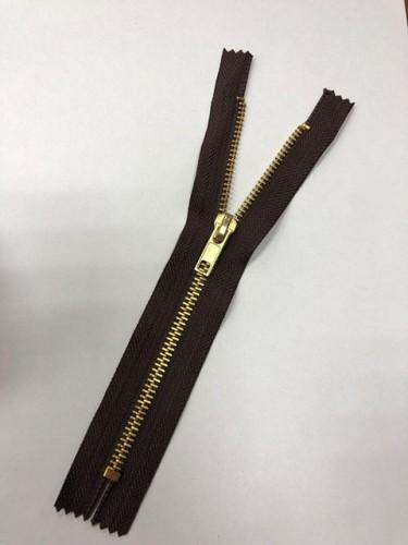 Молния джинсовая Т5 18см неразъемная золото цв.№304 коричневый(в упак.100шт)