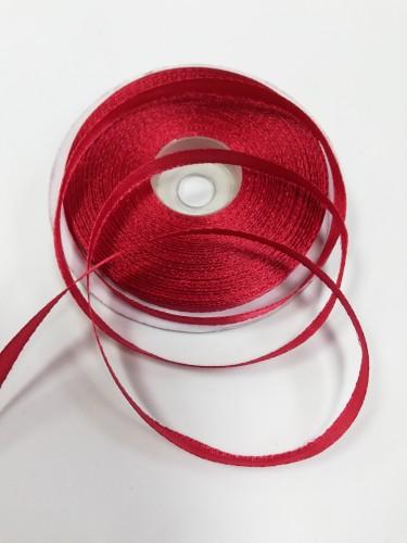 148 Атласная лента 6мм цв.красный(в рул.33м)