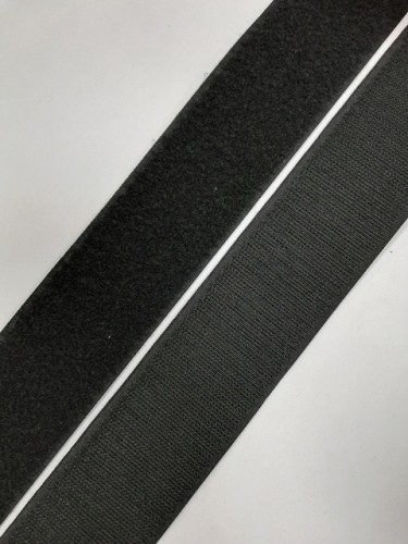 Липучка 050мм цв.черный(в рул.25м)