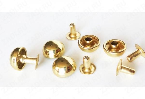Хольнитен выпуклый стальной 10*10мм цв.золото(в упак.1000шт)