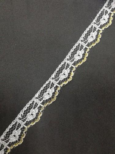 168 Кружево гипюровое полиэстер цв.металлизированный(в упак.30м)