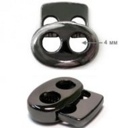 316ВTR Фиксатор металлизированный пластиковый двухдырочный малый плоский цв.ч.никель(в упак.1000шт)