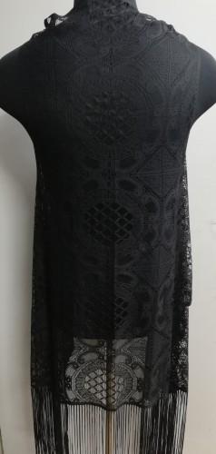 №42238 Кружеваная жилетка с бахромой цв.черный