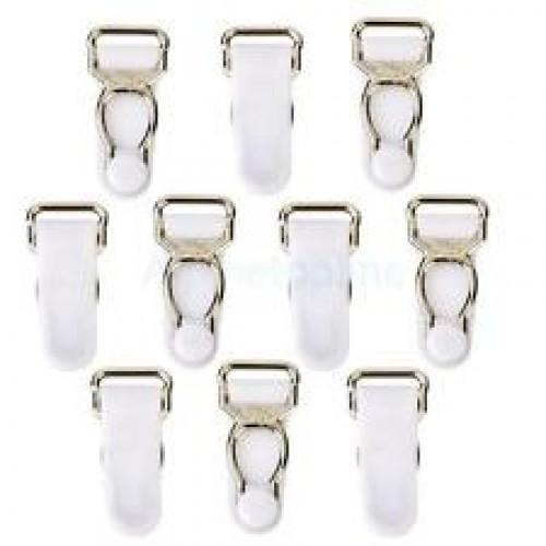Бельевая застежка для чулок металлическая 10мм цв.белый/никель(в упак.1000шт)