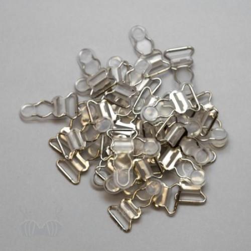 Бельевая застежка для чулок металлическая 10мм цв.прозрачный/никель(в упак.1000шт)